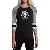 Nike Women's Oakland Raiders Stripe Tri-Blend Black Raglan T-Shirt