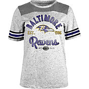5th & Ocean Women's Baltimore Ravens Peppercorn Throwback Grey T-Shirt