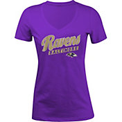5th & Ocean Women's Baltimore Ravens Glitter Purple T-Shirt