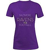5th & Ocean Women's Baltimore Ravens Rhinestone Purple T-Shirt