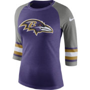Nike Women's Baltimore Ravens Stripe Tri-Blend Purple Raglan T-Shirt