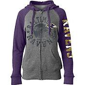 5th & Ocean Women's Baltimore Ravens Tri-Blend Fleece Grey Full-Zip Hoodie