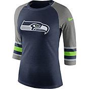 Nike Women's Seattle Seahawks Stripe Tri-Blend Navy Raglan T-Shirt