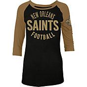 5th & Ocean Women's New Orleans Saints Black Raglan Shirt