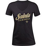 5th & Ocean Women's New Orleans Saints Glitter Black T-Shirt