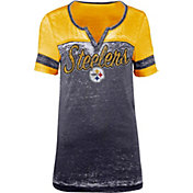 5th & Ocean Women's Pittsburgh Steelers Burnout Black T-Shirt