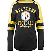 5th & Ocean Women's Pittsburgh Steelers Boyfriend Black Long Sleeve Shirt