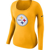 Nike Women's Pittsburgh Steelers Logo Gold Long Sleeve Shirt