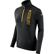 Nike Women's Pittsburgh Steelers Element Quarter-Zip Performance Black Top