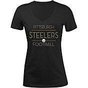 5th & Ocean Women's Pittsburgh Steelers Rhinestone Black T-Shirt