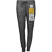 5th & Ocean Women's Pittsburgh Steelers Black Space Dye Sweatpants