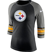 Nike Women's Pittsburgh Steelers Stripe Tri-Blend Black Raglan T-Shirt