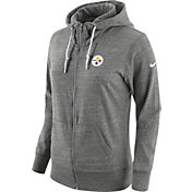 Nike Women's Pittsburgh Steelers Tailgate Vintage Grey Full-Zip Hoodie