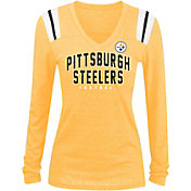 5th & Ocean Women's Pittsburgh Steelers Tri-Blend Gold Long Sleeve Shirt