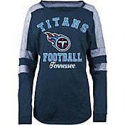 5th & Ocean Women's Tennessee Titans Boyfriend Navy Long Sleeve Shirt