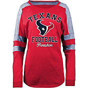 5th & Ocean Women's Houston Texans Boyfriend Red Long Sleeve Shirt