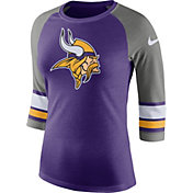 Nike Women's Minnesota Vikings Stripe Tri-Blend Purple Raglan T-Shirt