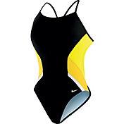 Nike Women's Poly Team Splice Cut-Out Back Tank Swimsuit