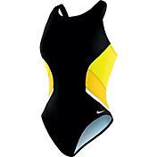 Nike Women's Poly Team Splice Fast Back Tank Swimsuit