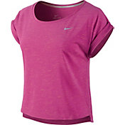 Nike Women's Tailwind Slub Short Sleeve Crop Running Shirt