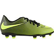 Product Image � Nike Kids\u0027 Bravata II FG Soccer Cleats. Black/Volt