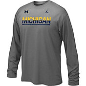 Jordan Youth Michigan Wolverines Grey Staff Sideline Legend Long Sleeve Shirt