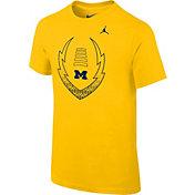Jordan Youth Michigan Wolverines Maize Football Icon T-Shirt