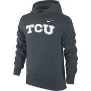 Nike Youth TCU Horned Frogs Anthracite Performance Practice KO Hoodie