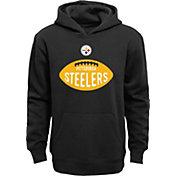 NFL Team Apparel Boys' Pittsburgh Steelers Embossed Black Hoodie