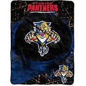 Northwest Florida Panthers Puck Micro Raschel Sherpa 45 in x 60 in Throw Blanket
