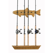 Organized Fishing Fish Lacquered Pine Wall Rack