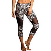 Onzie Women's Cutout Leopard Mesh Capris