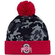 OSU Men's Ohio State Buckeyes Gray/Scarlet Camo Pom Knit Beanie