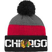 Reebok Youth Chicago Blackhawks Center Ice Waffle Cuffed Black/Red Knit Hat