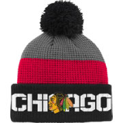 Reebok Youth Chicago Blackhawks Center Ice Waffle Cuffed Black/Red Knit Hat