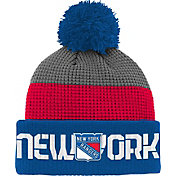 Reebok Youth New York Rangers Center Ice Waffle Cuffed Blue/Red Knit Hat
