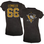 Old Time Hockey Women's Pittsburgh Penguins Mario Lemieux #66 Vintage Replica Player Black T-Shirt