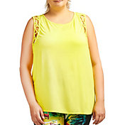 Pink Lotus Women's Plus Size Tied Off Lattice Detail Tank Top