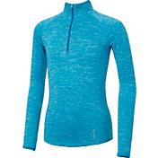 Reebok Girls Cold Weather Spacedye Quarter Zip Long Sleeve Shirt