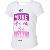 Reebok Girls' Cotton Do More Of What You Love Graphic Strap Back T-Shirt