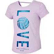 Reebok Girls' Cotton Love Volleyball Graphic Strap Back T-Shirt