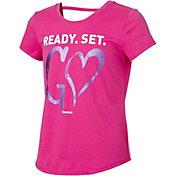 Reebok Girls' Cotton Ready Set Go Graphic Strap Back T-Shirt