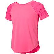 Reebok Girls' Mixed Fabric V-Neck T-Shirt
