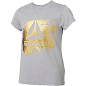 Reebok Girls' V-Neck Gold Delta Graphic T-Shirt