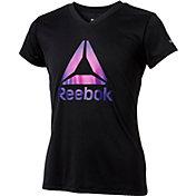 Reebok Girls' Gradient Delta Graphic V-Neck T-Shirt