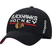 Reebok Men's Chicago Blackhawks Center Ice Locker Room Black Structured Flex Hat