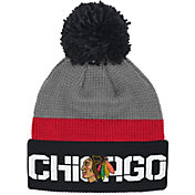Reebok Men's Chicago Blackhawks Center Ice Cuffed Pom Knit Hat