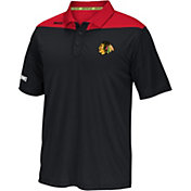 Reebok Men's Chicago Blackhawks Center Ice Statement Black/Red Polo