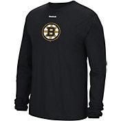 Reebok Men's Boston Bruins Jersey Crest Black Long Sleeve T-Shirt