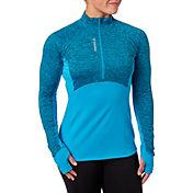 Reebok Women's Cold Weather Spacedye Print Quarter Zip Long Sleeve Shirt